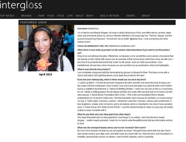 Featured on Intergloss.com
