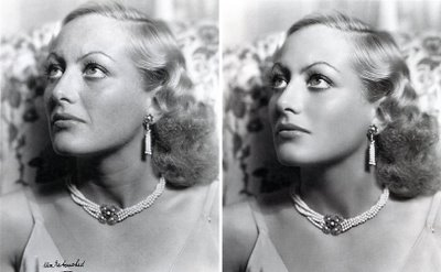 Before and after shots of Joan Crawford in a 1931 photography by George Hurrell