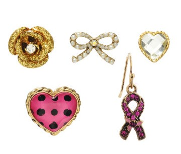 Betsy Johnson has been a breast cancer survivor for 11 years. In an effort to contribute to awareness of National Breast Cancer Awareness Month, every year she launches a special fashion line featuring clothing and accessories. A portion of the proceeds for all items sold will be donated to charity. (Pictured above - Breast Cancer Awareness 5 Stud Earring Set, $38)