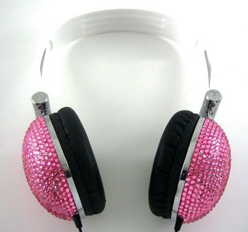 Pink Crystal Rhinestone DJ Hi-Def Noise-Canceling Over-Ear Headphones