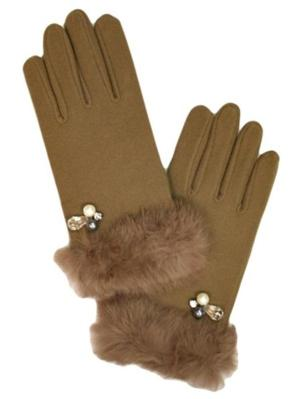 Ladies Taupe Pearl & Faux Fur Trimmed Gloves