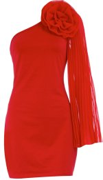Red corsage one sleeve dress, $21.00