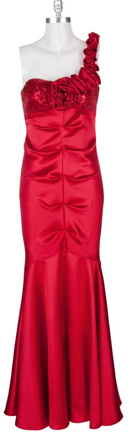 Blondie Nites Juniors One Shoulder Gown with Micro Sequin Detail