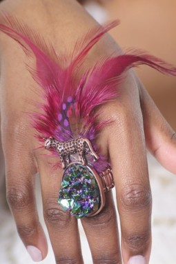 Feathered Cocktail Ring, $19.00 at liveinfashion.com