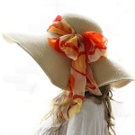 Luxury Lane Luxury Lane Women's Beige Floppy Paper Straw Sun Hat with Removable Orange Scarf, $48.00
