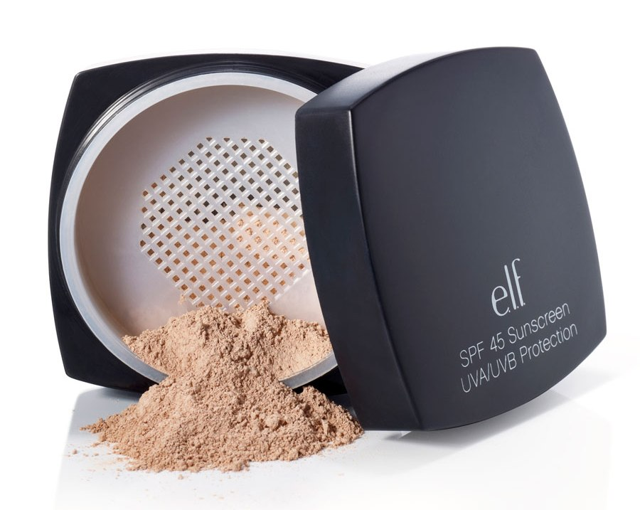 e.l.f. Studio SPF 45 Sunscreen UVA/UVB Protection, $6.00, is a sunscreen loose powder sunscreen that not only protects skin from harmful UVA/UVB rays, but also soothes skin with healthy ingredients including loe Vera Extract, Grape Seed Extract and Vitamins A,C & E.