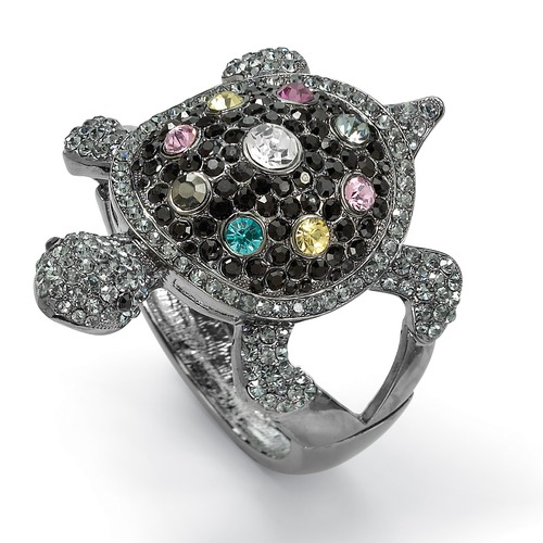Palm Beach Jewelry Black Ruthenium Crystal Turtle Bangle Bracelet, $55