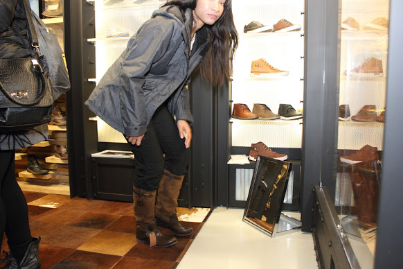 A picture of me checking out my new pair of CAT Footwear Corrine boots.