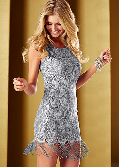 Silver (SL) Fringe Hem Dress $42