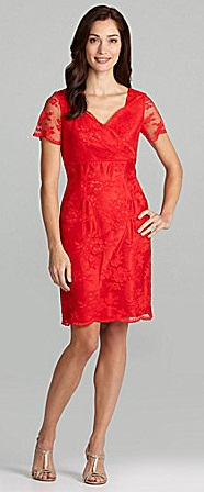 Tahari Short-Sleeve Lace Dress, $83.40