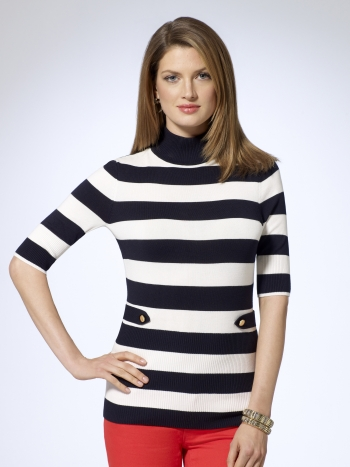 Nautical Striped Turtleneck Sweater