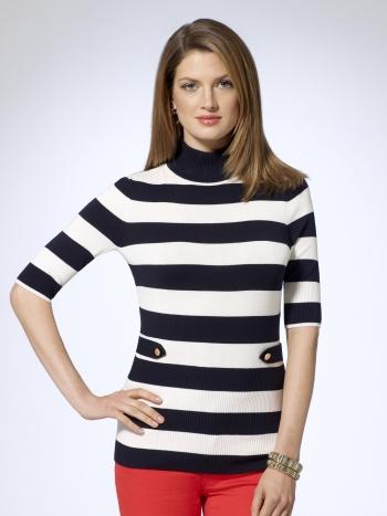 Nautical Striped Turtleneck Sweater