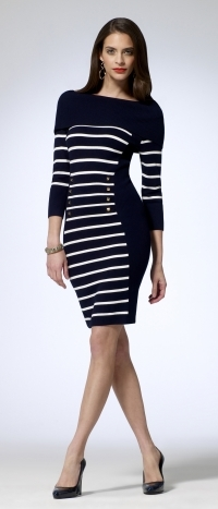 Striped Off The Shoulder Sweater Dress