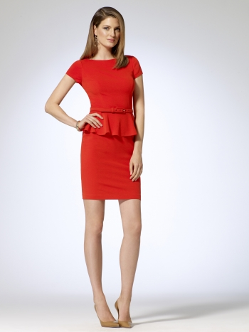 Contour Belted Peplum Dress