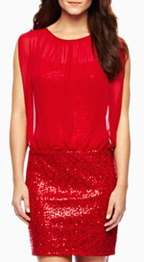 Sequin and Chiffon Blouson Dress, $39.00