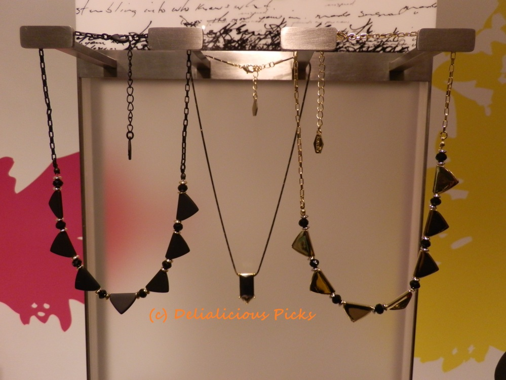 Triangle Collar ($28, on the left and right); Baguette Pendant (center)