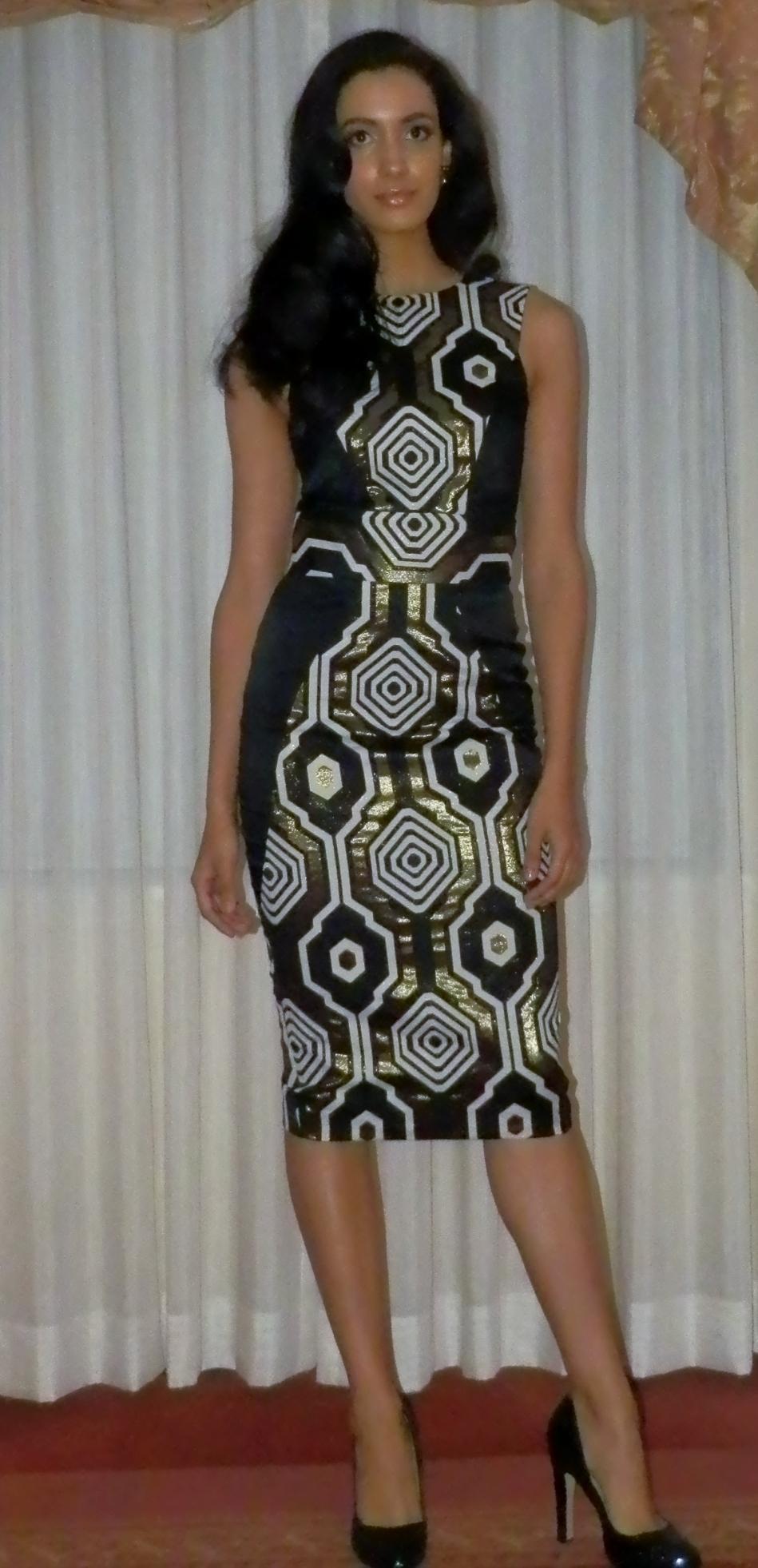 Symmetry jacquard dress