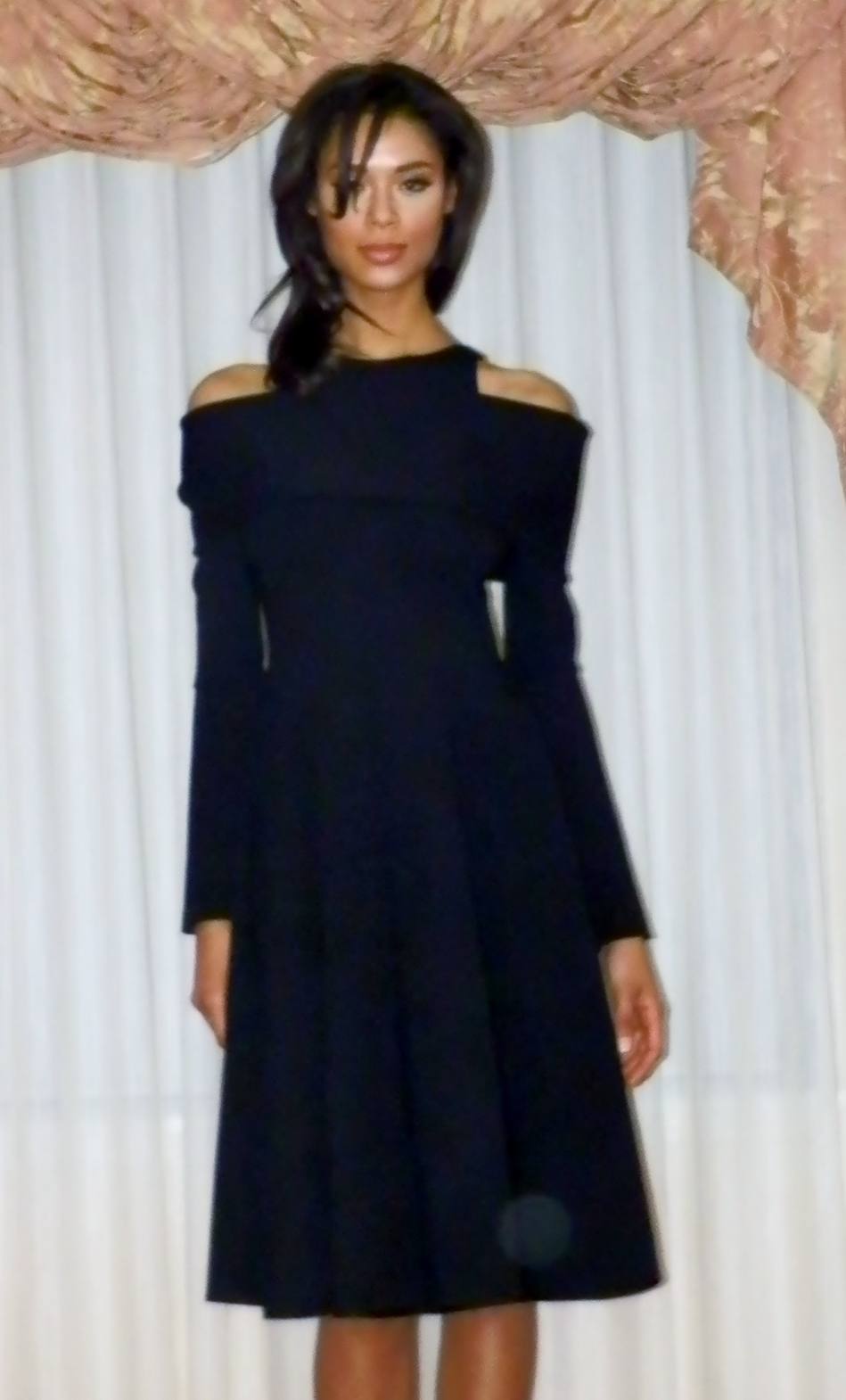 Black dress with shoulder cut-out