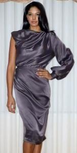 One sleeve silk charmus drama dress