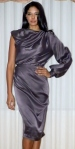 One sleeve silk charmus drama dress