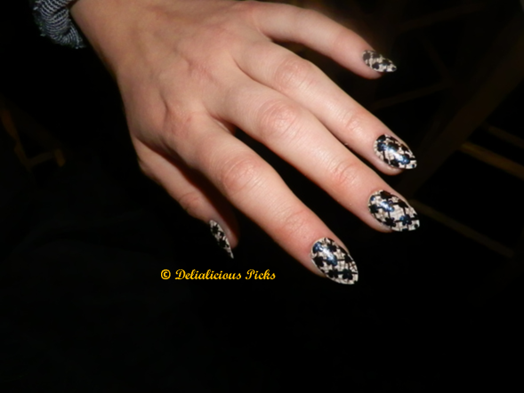 The nail art was inspired by the fabrics used in Emerson's fall 2013 collection