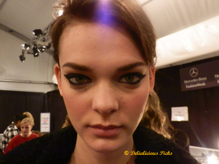 The final makeup look backstage at Mercedes-Benz Fashion Week's Emerson Fall 2013 show