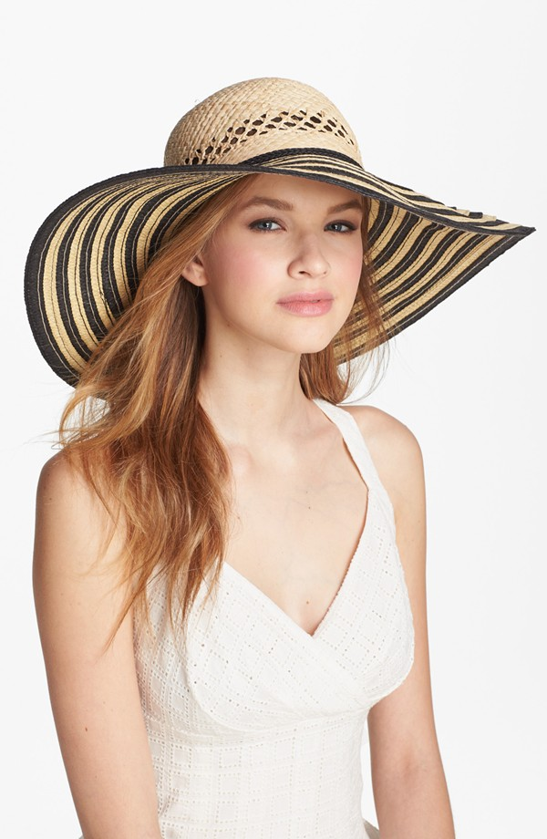 'Angelina' Striped Sun Hat, $38.00