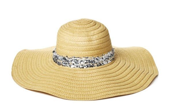 Juicy Couture Wide Brim Straw Sequined Sun Hat, $39.99