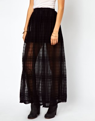 ASOS Maxi Skirt in Sheer Check