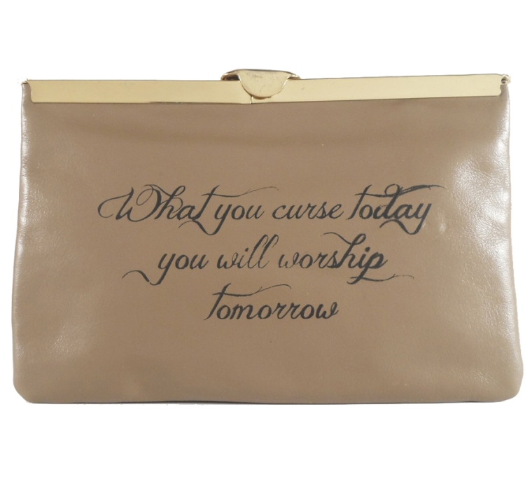 Curse Clutch (Taupe Leather, Black Ink), $288