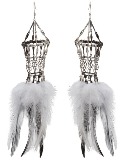 Clemmie Watson Feather cage earrings, $350