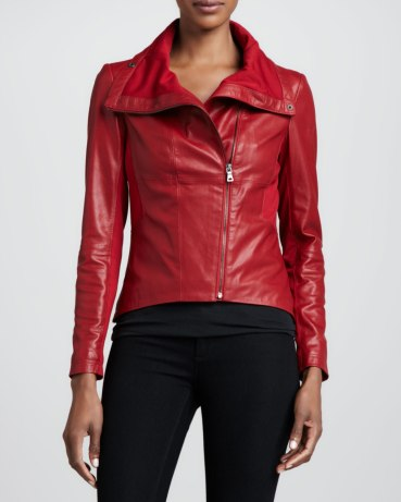 Bagatelle Leather & Ponte Asymmetric Jacket, Red, $395.00