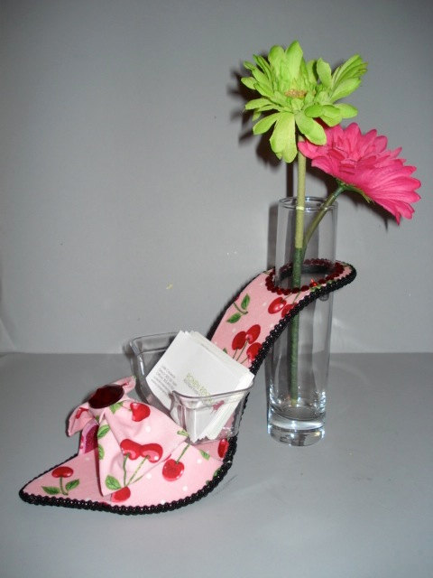 business card holder- high heel bud vase, $35.00
