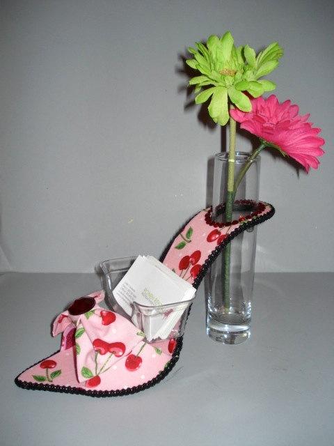 business card holder- high heel bud vase, $35.00