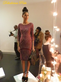 Burgundy lace dress with boat neck and 3-quarter sleeve