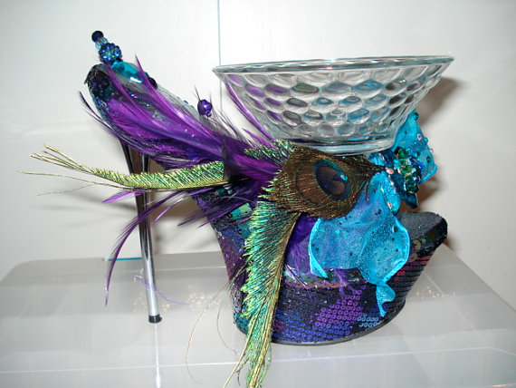 shoe candy dish Peacock Sequin Platform, $49.00