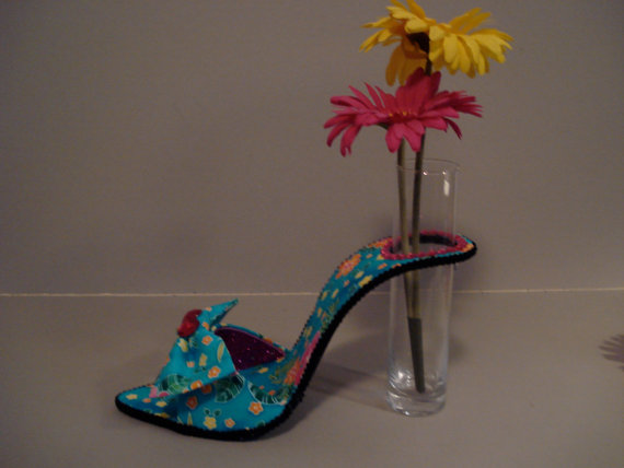 Tropical Print high heel bud vase, $30.00