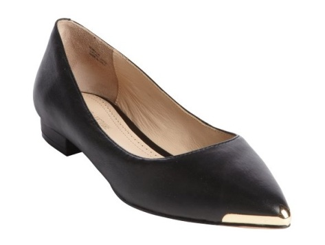 Pour la Victoire Add to My Designers  black leather 'Rena' gold plate pointed toe flats, $114