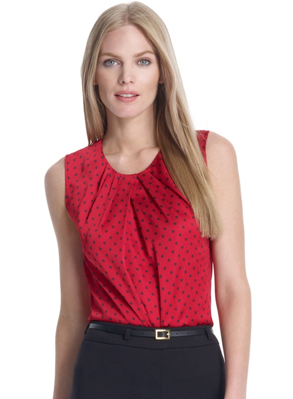 Abby Shell with Polka Dots and Front Pleats, $59.00