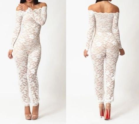 Dynamic White Lace Off Shoulder Jumpsuit, $64.00