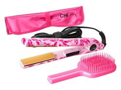 """CHI Home CHI AIR EXPERT Classic Tourmaline 1"""" Ceramic Hairstyling Iron, Mat and Brush-Ltd. Edition Breast Cancer Awareness, $99.00"""
