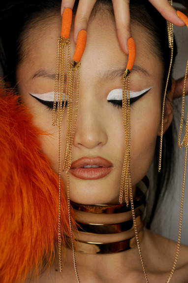 NEW YORK, NY - FEBRUARY 18: A model poses backstage for The Blonds with CND Fall/Winter 2015 at Milk Studios on February 18, 2015 in New York City. (Photo by Jennifer Graylock/Getty Images for CND)