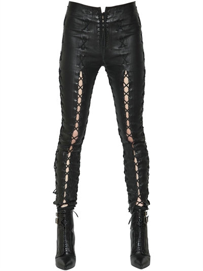 UNRAVEL SKINNY LACE-UP STRETCH LEATHER PANTS, $ 2611.00
