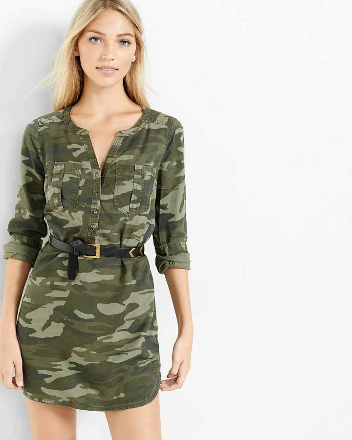 camouflage soft twill popover shirt dress, $69.00