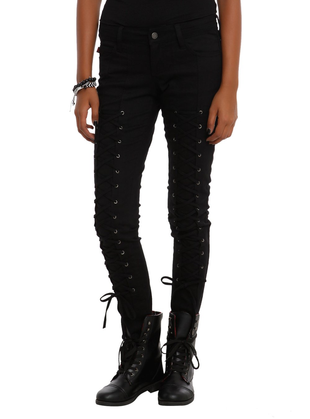 Royal Bones By Tripp Black Lace-Up Skinny Jeans, $27.19