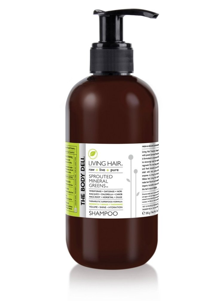 The Body Deli's Living Hair Sprouted Mineral Greens Shampoo, $ 28.00.  This shampoo contains a whole host of superfoods including wheatgrass, oatgrass, nori kale juice, chlorella  and carob, to name a few, to help rejuvenate hair follicles.