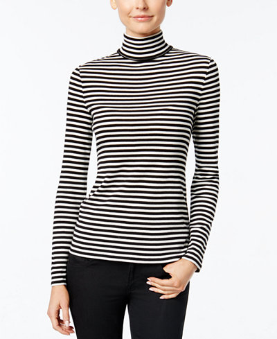 Charter Club Striped Turtleneck Top, $19.98
