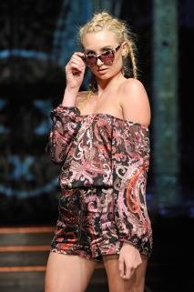 A model walks the runway wearing Mister Triple X Featuring L.A.M.B. by Gwen Stefani at Art Hearts Fashion NYFW The Shows Presented by AIDS Healthcare Foundation at The Angel Orensanz Foundation on September 14, 2016 in New York City. (Photo by Arun Nevader/Getty Images for Art Hearts Fashion)