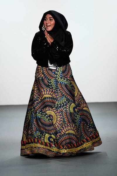 Designer Anniesa Hasibuan on the runway. (Sept. 11, 2016 - Source: Frazer Harrison/Getty Images North America)