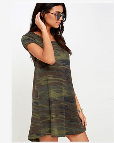 Handsome camouflage t shirt dress for women green long t shirts, $19.99